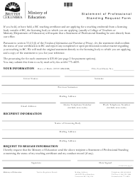 """""""Statement of Professional Standing Request Form"""" - British Columbia, Canada"""