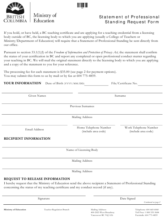 """Statement of Professional Standing Request Form"" - British Columbia, Canada Download Pdf"