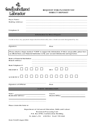 """Form 14-650 """"Request for Payment by Direct Deposit"""" - Newfoundland and Labrador, Canada"""
