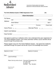 """Form 14-1169 """"The Online Mailback System (Toms) Registration Form"""" - Newfoundland and Labrador, Canada"""