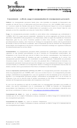 "Forme 14-918 ""Consentement - Collecte, Usage Et Communication De Renseignements Personnels"" - Newfoundland and Labrador, Canada (French)"