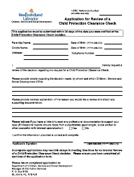 "Form 51-08-07-42_300_2015 05 ""Application for Review of a Child Protection Clearance Check"" - Newfoundland and Labrador, Canada"