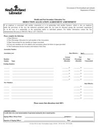 """Health and Post-secondary Education Tax Deduction Allocation Agreement Amendment"" - Newfoundland and Labrador, Canada"