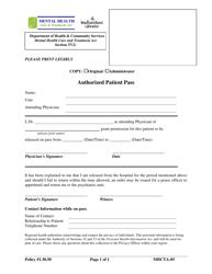 "Form MHCTA-05 ""Authorized Patient Pass"" - Newfoundland and Labrador, Canada"