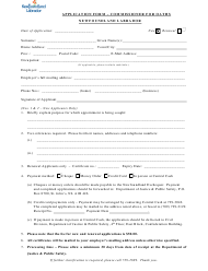 """Application Form - Commissioner for Oaths"" - Newfoundland and Labrador, Canada"