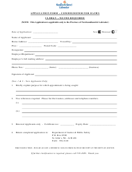 """Application Form - Commissioner for Oaths Clergy"" - Newfoundland and Labrador, Canada"