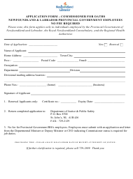 """Application Form - Commissioner for Oaths Newfoundland & Labrador Provincial Government Employees"" - Newfoundland and Labrador, Canada"