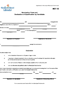 "Form MEF-02 ""Nomination Form and Declaration of Qualification by Candidate"" - Newfoundland and Labrador, Canada"