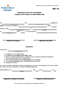 "Form MEF-03 ""Nomination Form for Candidates Unable to Be Present on Nomination Day"" - Newfoundland and Labrador, Canada"