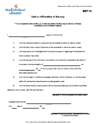 """Form MEF-10 """"Oath or Affirmation of Secrecy"""" - Newfoundland and Labrador, Canada"""