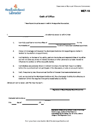 "Form MEF-18 ""Oath of Office"" - Newfoundland and Labrador, Canada"
