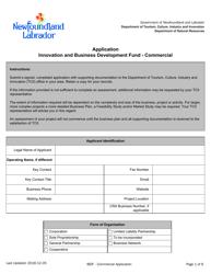 """Innovation and Business Development Fund - Commercial Application"" - Newfoundland and Labrador, Canada"