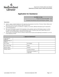 """""""Application for Assistance"""" - Newfoundland and Labrador, Canada"""