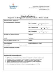 """""""Demande De Financement - Programme De Developpement Economique Culturel"""" - Newfoundland and Labrador, Canada (French)"""