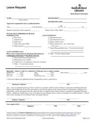 """Form HRS-1102-01 """"Leave Request"""" - Newfoundland and Labrador, Canada"""