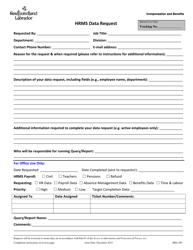 """Form HRS-100 """"Hrms Data Request"""" - Newfoundland and Labrador, Canada"""