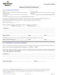 "Form HRS-106 ""Request for Boot/Tool Allowance"" - Newfoundland and Labrador, Canada"