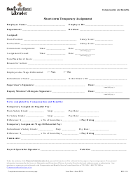 "Form HRS-110 ""Short-Term Temporary Assignment"" - Newfoundland and Labrador, Canada"
