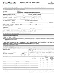 """Form M6191 """"Application for Enrolment"""" - Newfoundland and Labrador, Canada"""