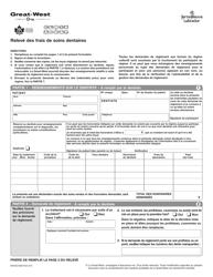 """Forme M445D """"Releve DES Frais De Soins Dentaires"""" - Newfoundland and Labrador, Canada (French)"""