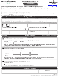 "Form M5995 ""Evidence of Insurability Coverage Detail"" - Newfoundland and Labrador, Canada"