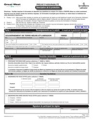 """Forme M5995 """"Preuve D'assurabilite Description De La Protection"""" - Newfoundland and Labrador, Canada (French)"""