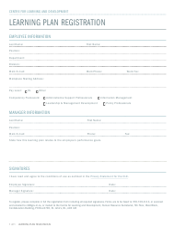 """Learning Plan Registration Form"" - Newfoundland and Labrador, Canada"