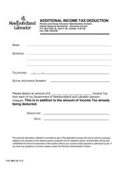 "Form PAD-001 ""Additional Income Tax Deduction"" - Newfoundland and Labrador, Canada"