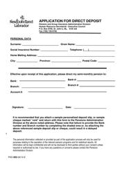 "Form PAD-003 ""Application for Direct Deposit"" - Newfoundland and Labrador, Canada"