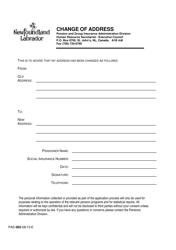 "Form PAD-002 ""Change of Address"" - Newfoundland and Labrador, Canada"
