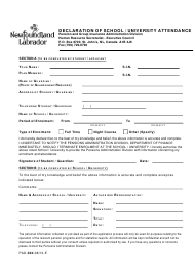 "Form PAD-004 ""Declaration of School/University Attendance"" - Newfoundland and Labrador, Canada"
