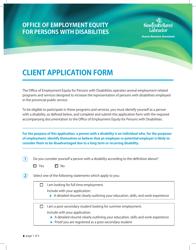 """""""Client Application Form"""" - Newfoundland and Labrador, Canada"""