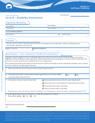 "Form D ""Disability Assessment"" - Northwest Territories, Canada"
