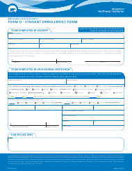 "Form D (NWT8716) ""Student Enrollment Form"" - Northwest Territories, Canada"