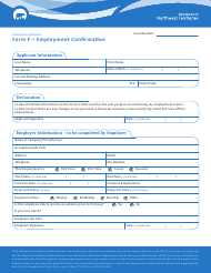 "Form F ""Employment Confirmation"" - Northwest Territories, Canada"