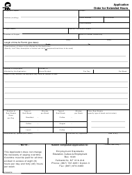"Form NWT4509 ""Application Order for Extended Hours"" - Northwest Territories, Canada"