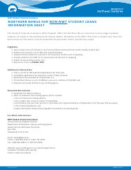 "Form NWT9002 ""Application for Northern Bonus (Non-nwt Student Loans Only)"" - Northwest Territories, Canada"