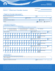 "Form J ""Child Care Provider Invoice"" - Northwest Territories, Canada"