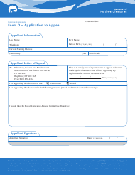 "Form O ""Application to Appeal"" - Northwest Territories, Canada"