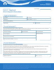 "Form C ""Applicant Direct Deposit Form"" - Northwest Territories, Canada"