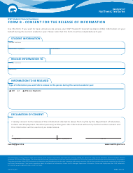 "Form B (NWT8714) ""Consent for the Release of Information"" - Northwest Territories, Canada"