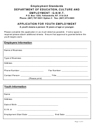 """Application for Youth Employment"" - Northwest Territories, Canada"