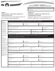 """Form 7 (NWT8801) """"Application - Duplicate Change of Name Certificate"""" - Northwest Territories, Canada (English/French)"""