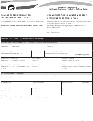 """Form NWT8997 """"Change of Sex Designation 19 Years of Age or Older"""" - Northwest Territories, Canada (English/French)"""