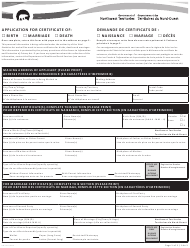 """Form NWT8627 """"Application for Certificate of Birth, Marriage, Death"""" - Northwest Territories, Canada (English/French)"""
