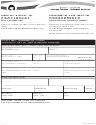 """Form NWT8995 """"Change of Sex Designation 19 Years of Age or Older - Second or Subsequent Change"""" - Northwest Territories, Canada (English/French)"""