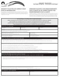 """Form NWT8870 """"Request to Access or Correct Your Health Information"""" - Northwest Territories, Canada (English/French)"""