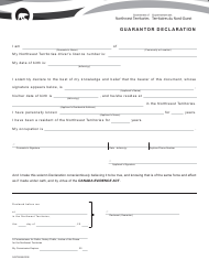 "Form NWT8695 ""Guarantor Declaration"" - Northwest Territories, Canada"