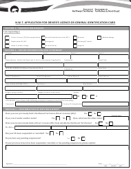 """""""N.w.t. Application for Driver's Licence or General Identification Card"""" - Northwest Territories, Canada"""