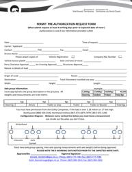 """""""Permit Pre-authorization Request Form"""" - Northwest Territories, Canada"""